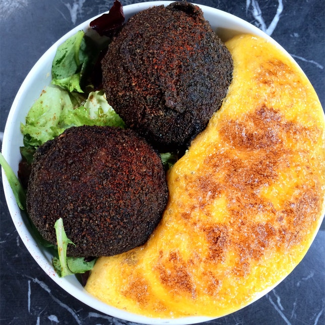 Baccala Cakes with Sea Urchin Sabayon [$15]