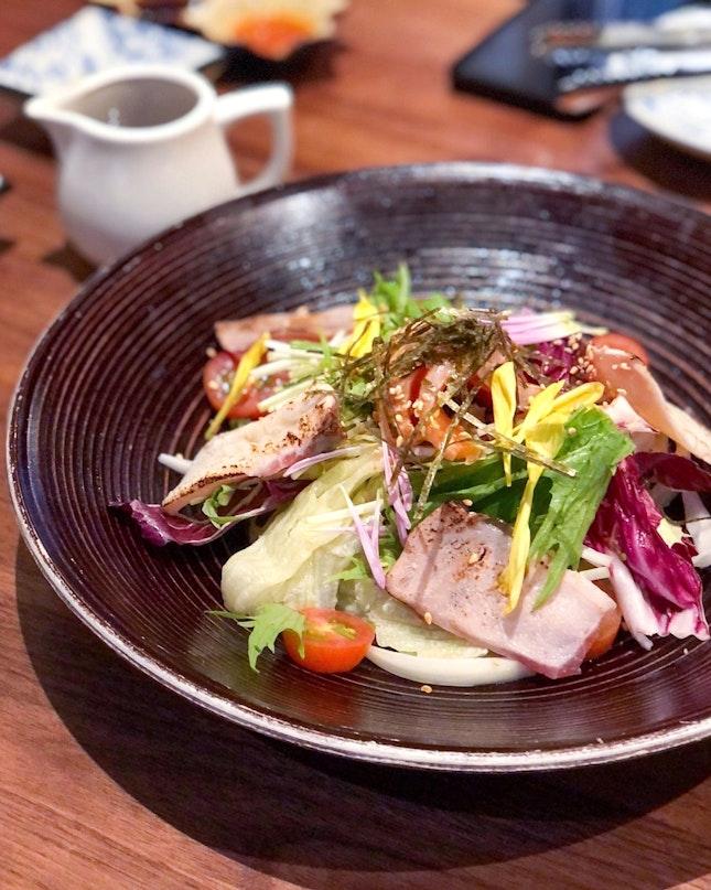 Seafood Aburi Salad with Caesar Dressing [$13]