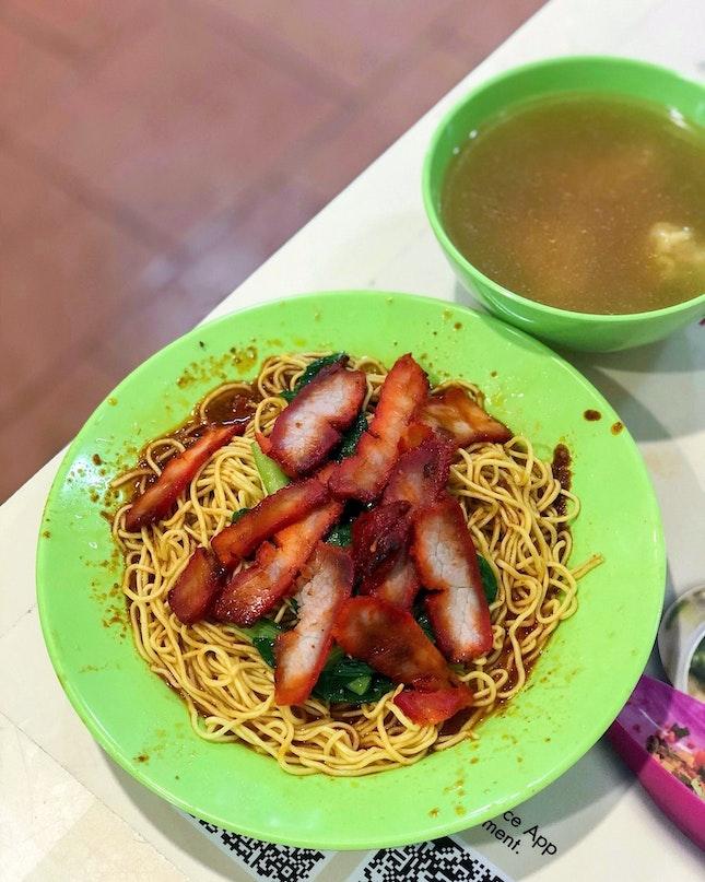 Wanton Mee + Extra Noodles [$3.50+$0.50]