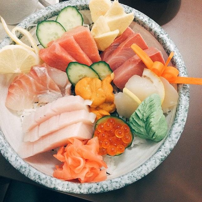 Chirashi Special Set ($68 with Chawanmushi, Miso Soup & Fruit).
