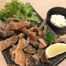 Fried Salmon Skin - a crispy treat that you can dip in cold mayonnaise.
