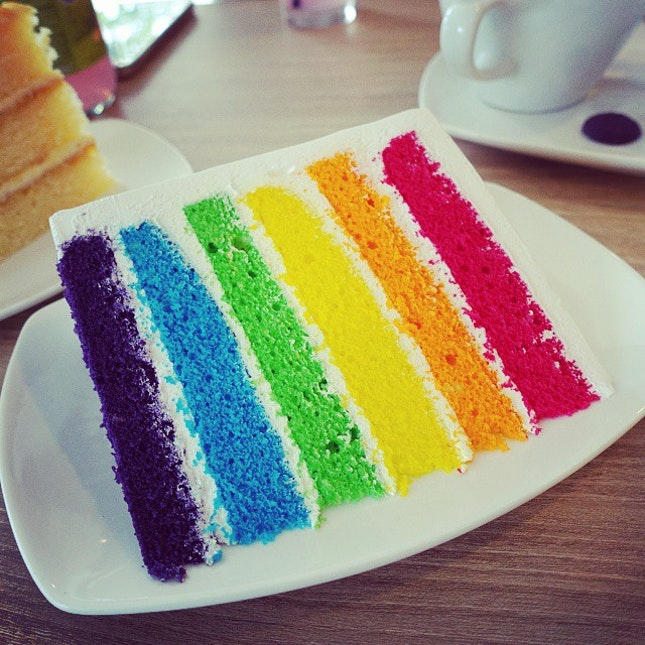 My second time eating a rainbow cake, still do not understand what's the hype about this type of cake.