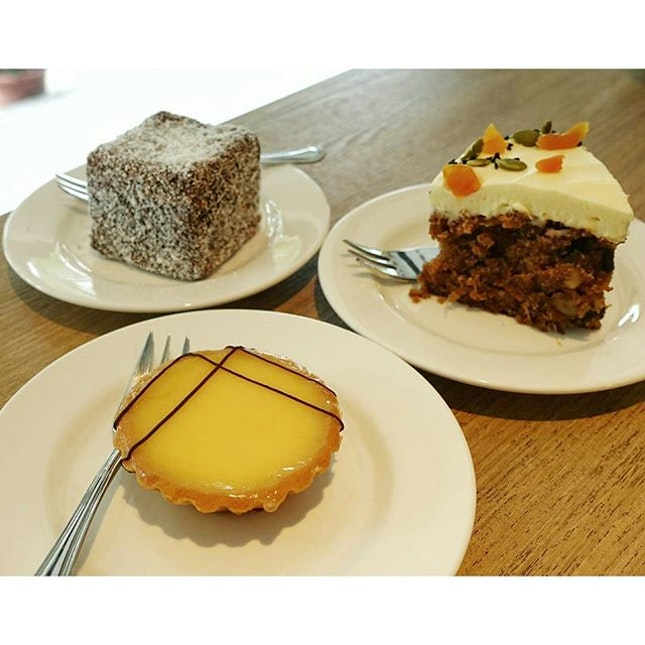 Lemon Tart ($5.50)- buttery crust filled with smooth, tangy lemon curd filling  Carrot cake ($5.20) which is moist and spread with a generous amount of not so smooth cheese frosting.