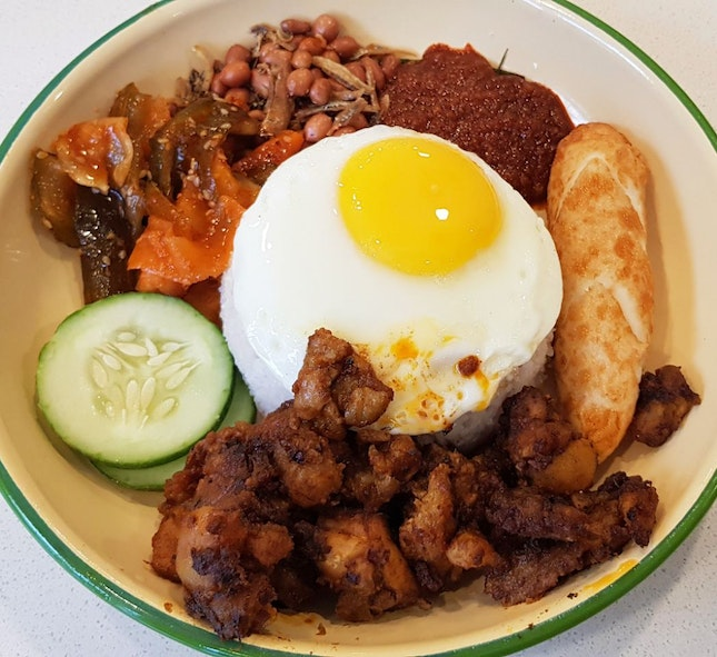 Nasi Lemak With Dry Chicken Curry