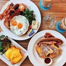 French Toast (savoury)—$17 Hearty brunch especially with fluffy french toast served with bacon, sausage and maple syrup.