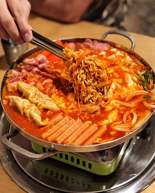 Army stew at an authentic Korean restaurant run by Koreans.