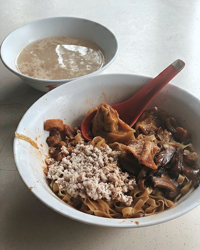 Bak Chor Mee —$4 With the much loved Teochew style dumpling and braised mushroom.