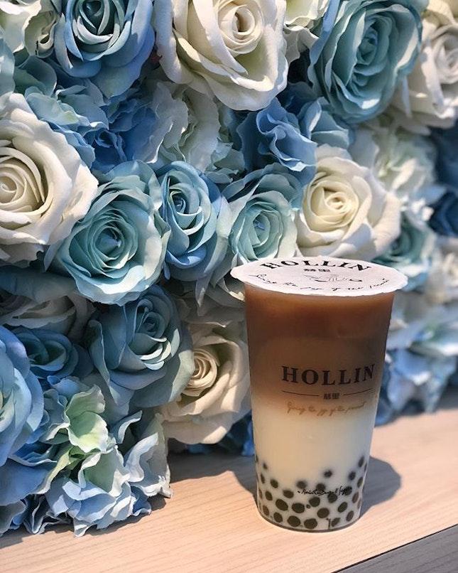 Honey black tea with matcha pearls.