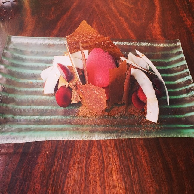 Deconstructed Cherry Ripe, chocolate mouse, cherry sorbet, toffee shards and shaved coconut.
