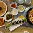 Joengol Army Stew ($38.90) | Yachae Pancake ($9.90) | Kimbap ($9.90) | Rice Cake ($5.90) | Side dishes ($4.90)