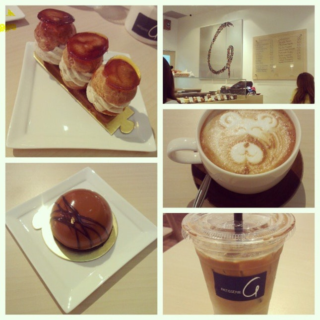 (3) Patisserie G - Saint-Honore, Miromel, Flat white coffee, Iced white coffee..