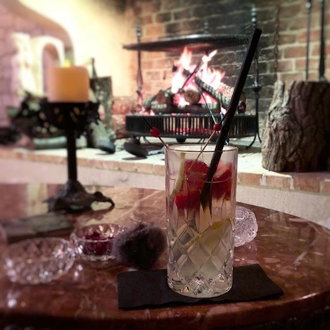 Hazz bar & lounge - complete with cosy fireplace, pool, and fully designed by the the owner herself, even the furniture!