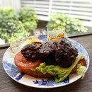 Open-faced char siew burger - not the most photogenic 😂 but pretty tender :) .