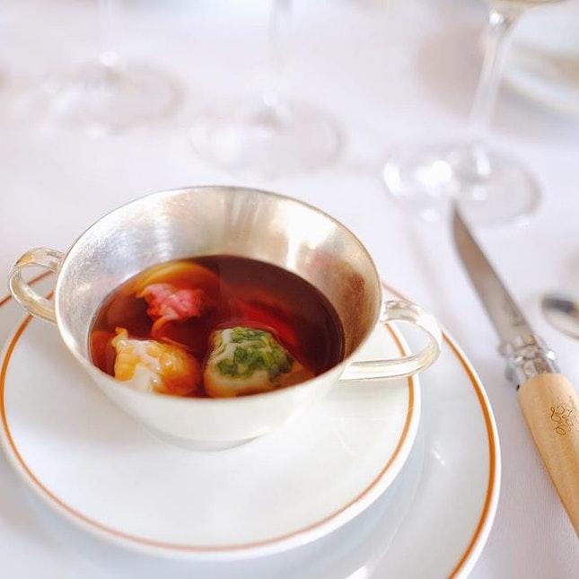 Medley of vegetable ravioli, Arpège Paris.