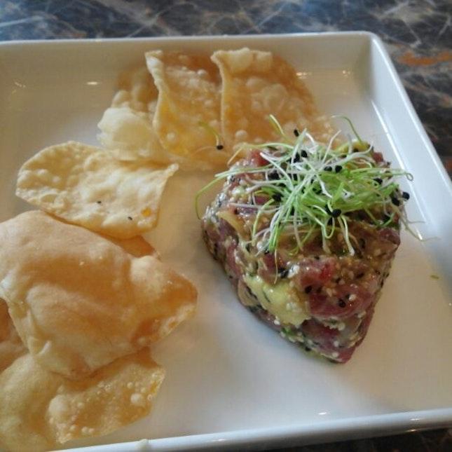 Avocado - Wasabi Tuna Tartare + Flour Chips