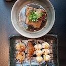 Braised pork belly, tori teriyaki, hotate mushi, quail eggs and Kurobuta pork jowl.