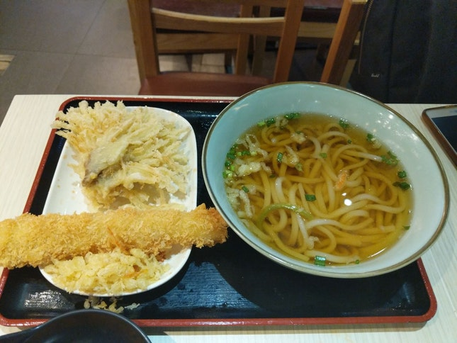 Plain Udon With Fried Enoki Mushroom And Crab Meat