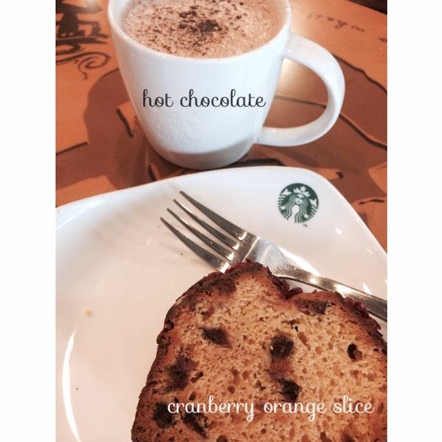 Hot Chocolate/Cranberry Orange Slice
