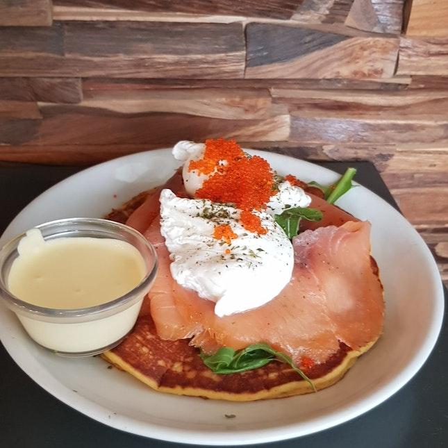 Poached Egg And Smoked Salmon On Pumpkin Pancake