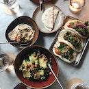 Cashew Hummus, Kebabs, Avocado and Kale Salad