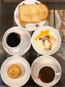 Kaya Toast With Egg, Coconut Tart And Kopi