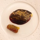 Roast Smoked Foie Gras with Hibicus Sauce with Dragée. ($66++ per serving)