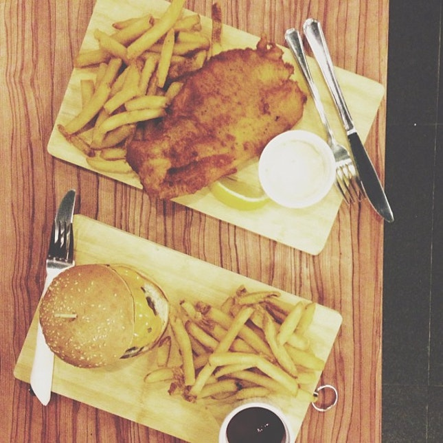 fish & chips, beef burger #sgfood