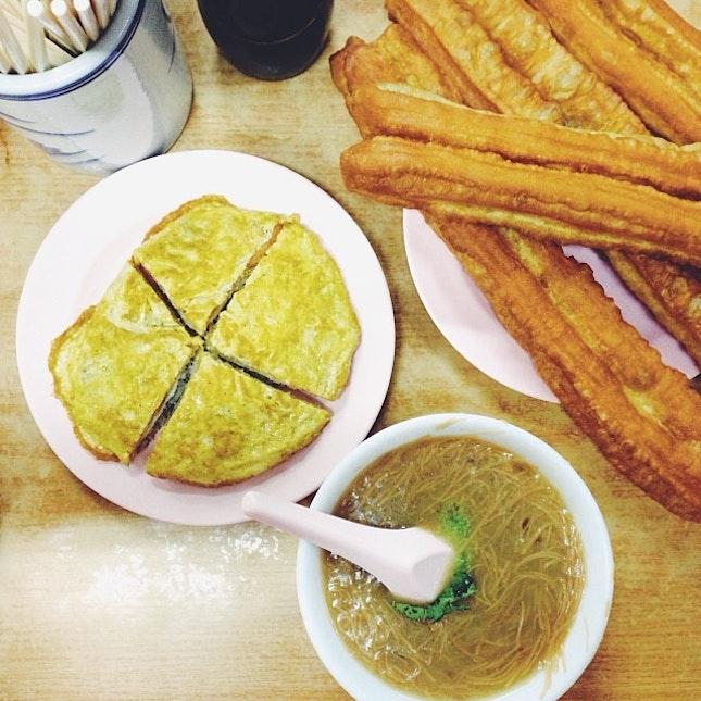 mee sua & you tiao for supper #sgfood