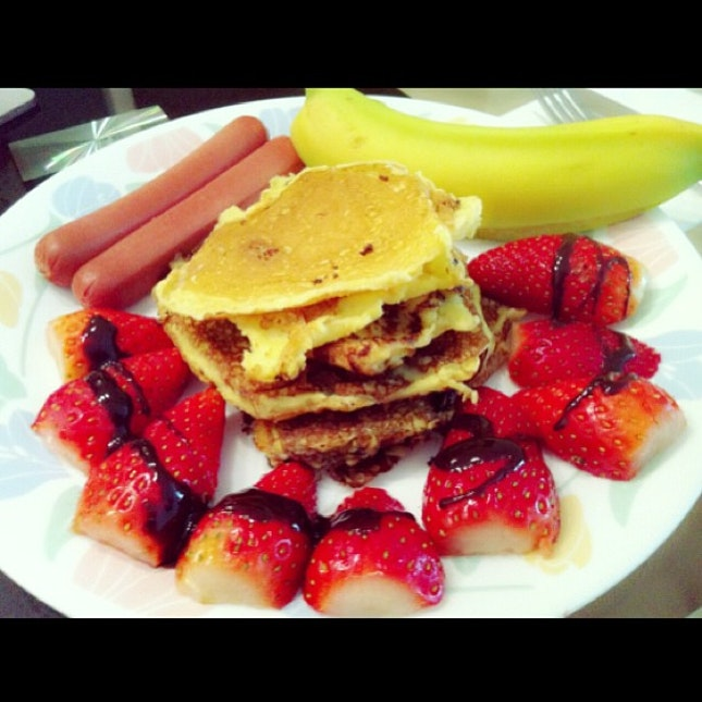 First attempt at making pancakes breakfast.