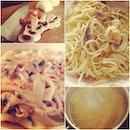 Aglio Olio Pasta, Seafood kimchi Udon.