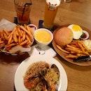 cheese fries, prawn aglio olio & cheeseburger