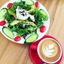 poached egg wafu salad + cuppuccino