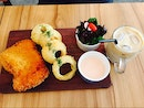 mentaiko pork cordon bleu with mozzarella cheese & onion rings, iced baileys latte