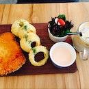 mentaiko pork cordon bleu with mozzarella cheese & onion rings, iced baileys latte