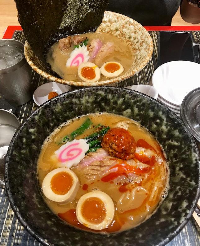 Hybrid Duck Ramen (Rich Soup) Special ($19.90) + Spicy Miso Hybrid Duck Ramen (Rich Soup) with Flavoured Egg ($18.50)