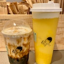 Fresh milk brown sugar boba ($4.90) & mango cheese tea ($7.50)