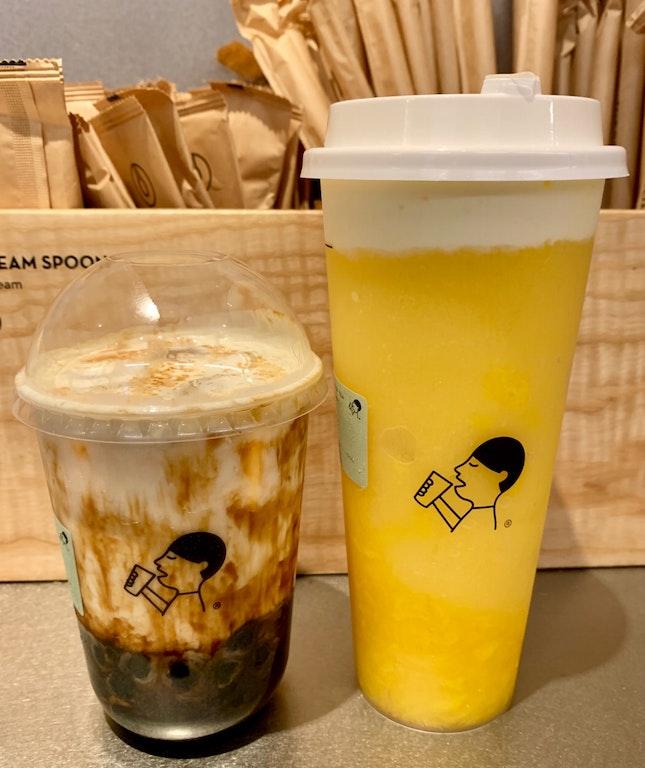 Fresh milk brown sugar boba ($4.90) & mango cheese tea ($7.50)