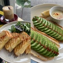 Grilled Cheese Melt sandwich ($15.80) x Avocado Toast with slow cooked egg ($13.50)