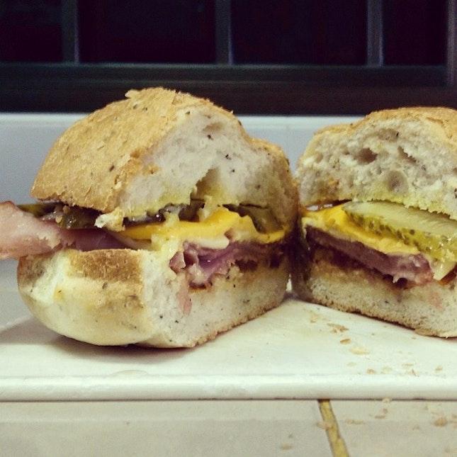 Om nom nom sandwich burger.