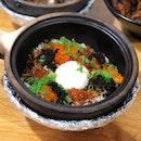 Onsen Egg with Ikura & Tobiko Claypot Rice ($11)