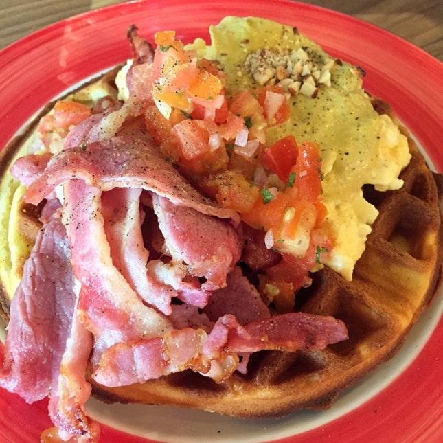 Savoury Waffles with Bacon and Scrambled Eggs ($16 nett)