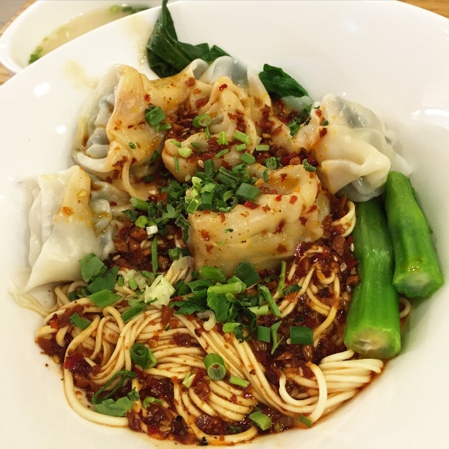 Hot & Sour Handmade Noodles in Szechuan Style with Wantons ($10.80++)