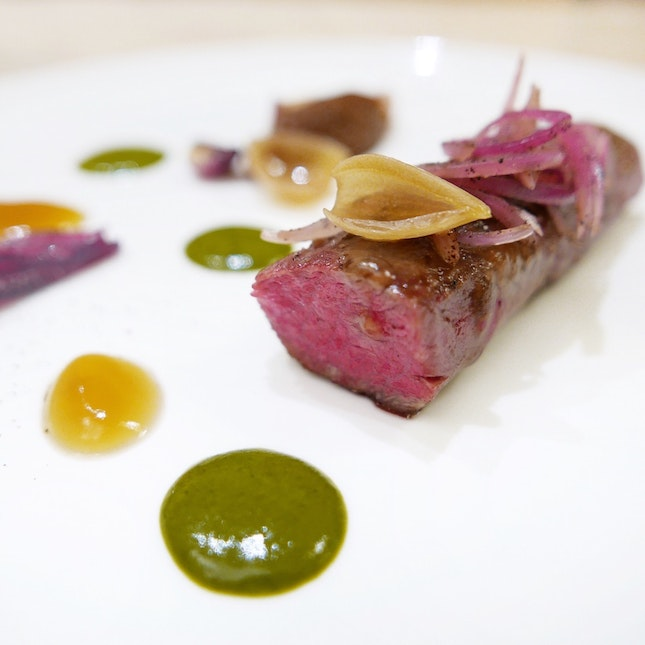 """""""Beef and Alliums"""" - Main Course Option in the Chef's Dinner Tasting Menu ($140++ for 5 courses, $170++ for 7 courses)"""