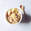 20140523 Made a bowl of warm oats w fresh milk, apple slices, ground cinnamon & a dollop of lavender honey.