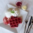 20140615 Da bomb: Red velvet waffles & vanilla icecream!!!