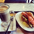 Definition of going solo #saturday #delifrance #lunch #croissant #smokedsalmon #cafelatte