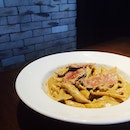 Smoked Duck Black Pepper Cream Pasta •SGD 14.90•  A creamy based pasta with a hint of spice, topped with pan-seared smoked duck.