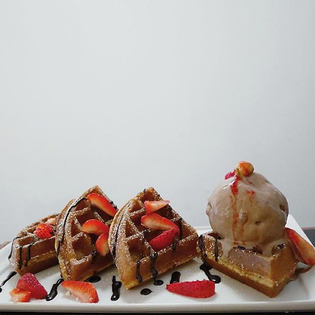 Gelato on Waffles •SGD 12.80•  NO-WHERE to enjoy your coffee in Tampines?
