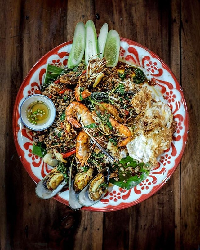 Thai Basil Stir Fry with Seafood •THB 300• • A trip to night market is a must in Bangkok and  seriously who doesn't love shopping?