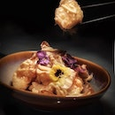 """Deep-fried Sliced Lotus Root and Prawns with Durian Mayo Sauce 榴莲美奶滋炸鲜虾莲藕片 •SGD 36++ per portion• • From 2 August to 13 September 2019, award-winning Chinese restaurant Min Jiang at Goodwood Park Hotel introduces a new """"A Hearty Vegetable Harvest"""" menu that highlights humble vegetables like pumpkin, lotus root and cauliflower in creative and sumptuous dishes that will nourish from within."""